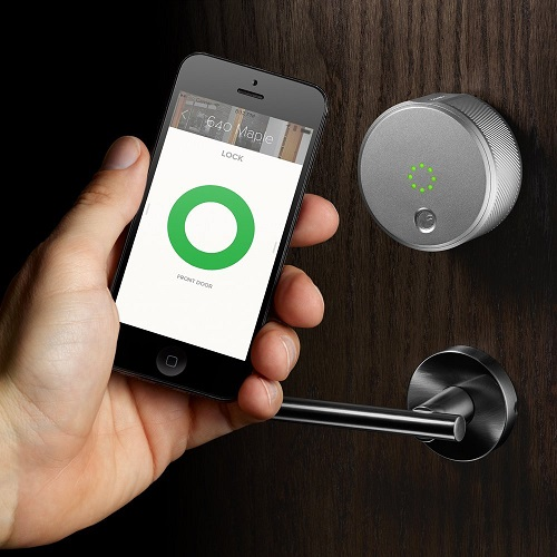 August Smart Lock in Use and App on Mobile Device