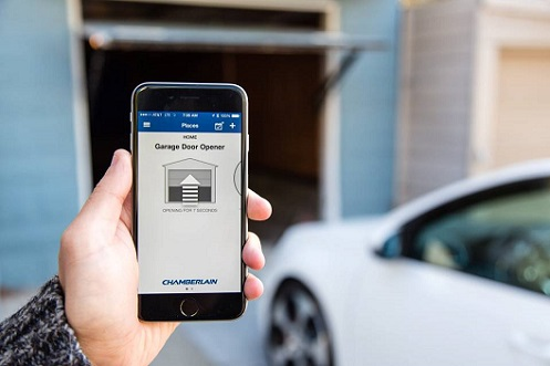 Smart Home Garage Door Opened with Smartphone