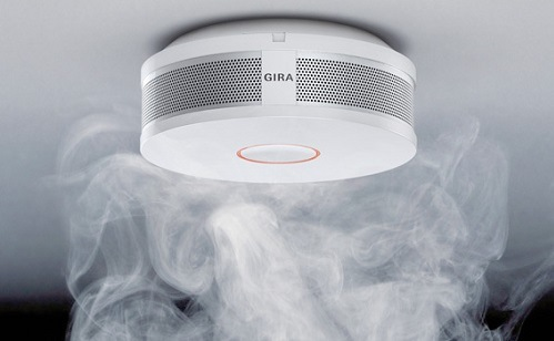 Smoke Rising Towards Smoke Alarm