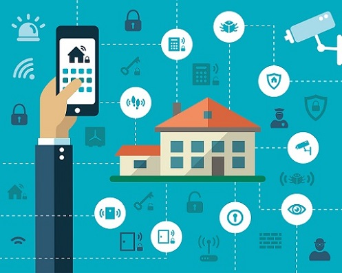 Smart Home Security Illustration with Smartphone