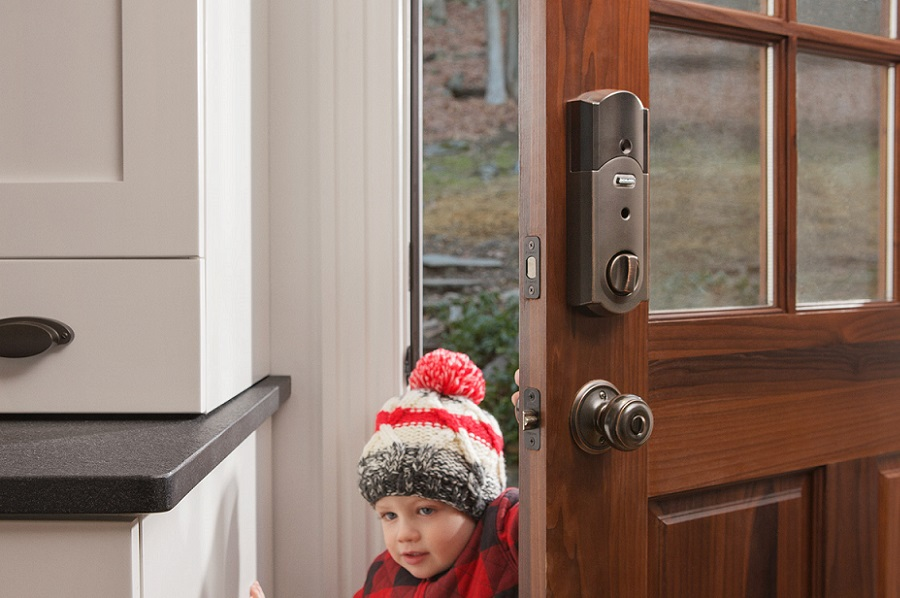 Schlage Connect Camelot Deadbolt on Door