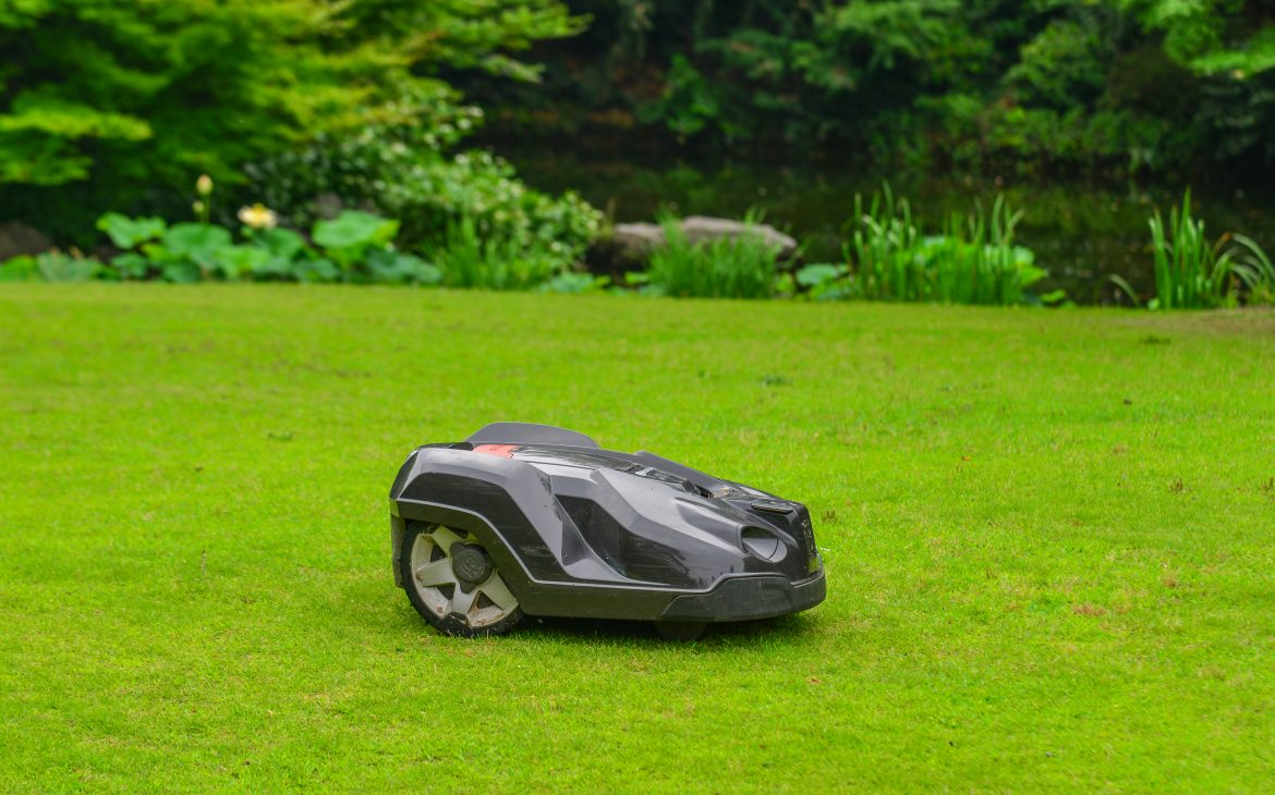 Automatic lawn mower robot on grass